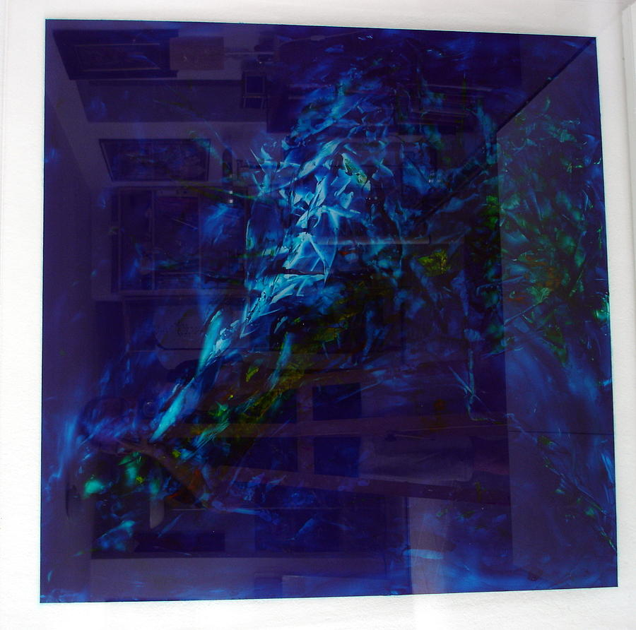Composition In Blue 2 Painting by Albert Kutzelnig