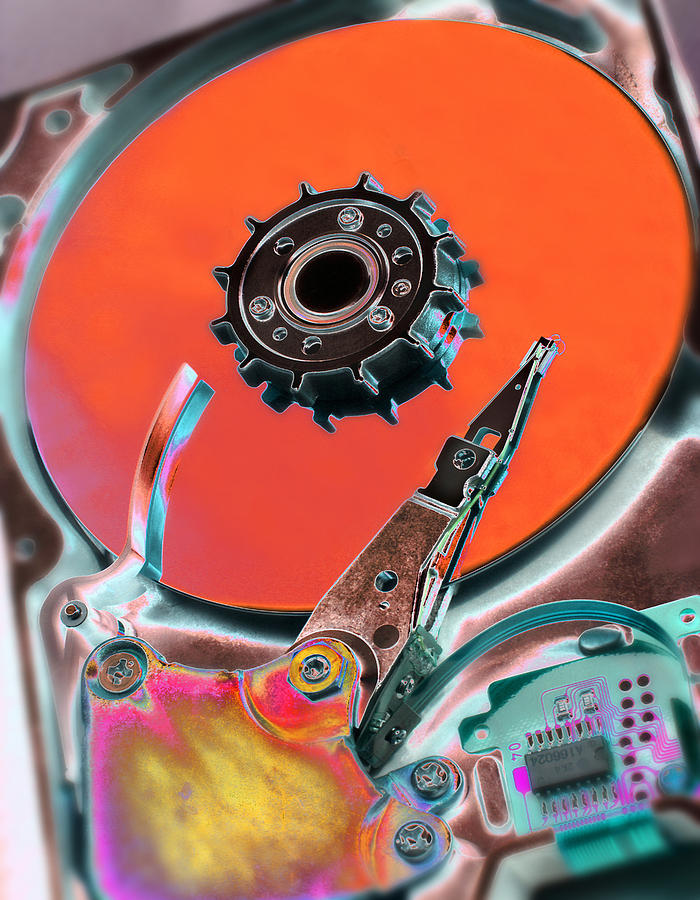 Machine Photograph - Computer Hard Disc by Mark Sykes