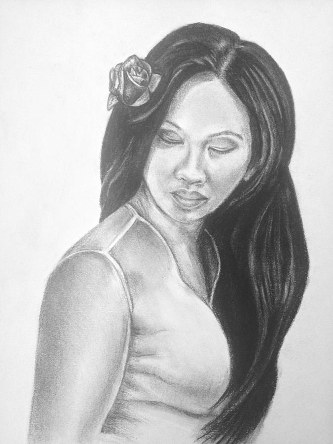 Long Hair Asian Lady With Rose In Sorrow Charcoal Drawing