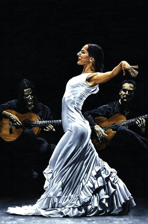 Flamenco Painting - Concentracion Del Funcionamiento Del Flamenco by Richard Young