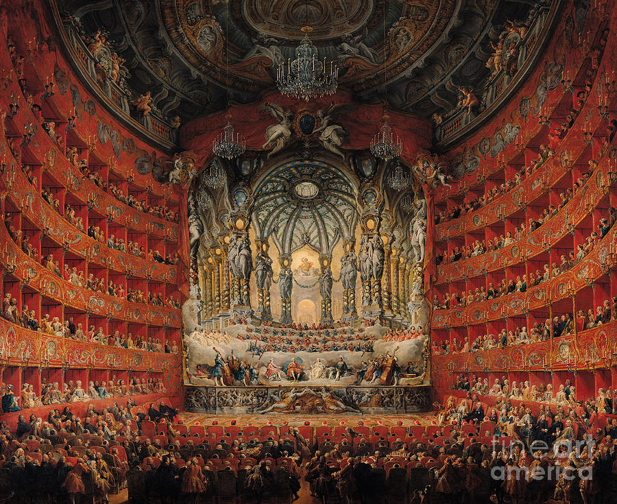 Concert Painting - Concert Given By Cardinal De La Rochefoucauld At The Argentina Theatre In Rome by Giovanni Paolo Pannini or Panini
