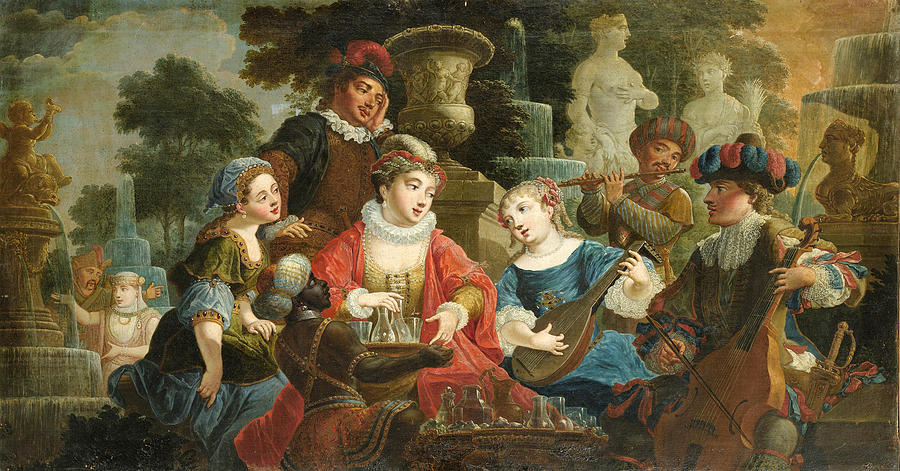Canvas Prints Painting - Concert In A Park by Jacques Vigouroux Duplessis