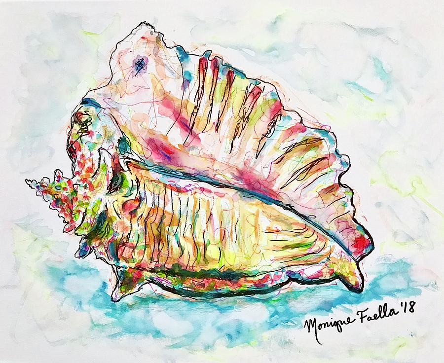 Conch Shell Painting - Conch Shell by Monique Faella