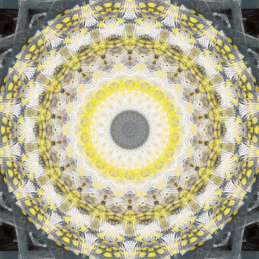 Concrete Painting - Concrete and Yellow Mandala- Abstract Art by Linda Woods by Linda Woods