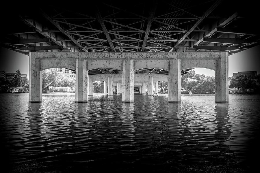 Lake Digital Art - Concrete Bridge by Farshid Modarres