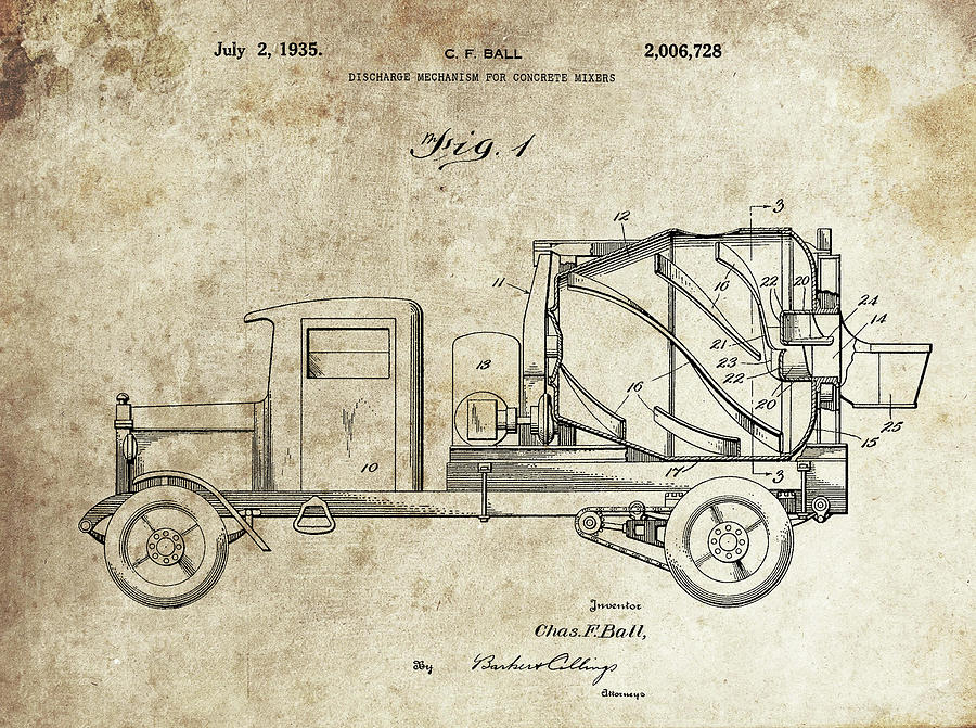 Concrete Drawing - Concrete Mixer Patent by Dan Sproul