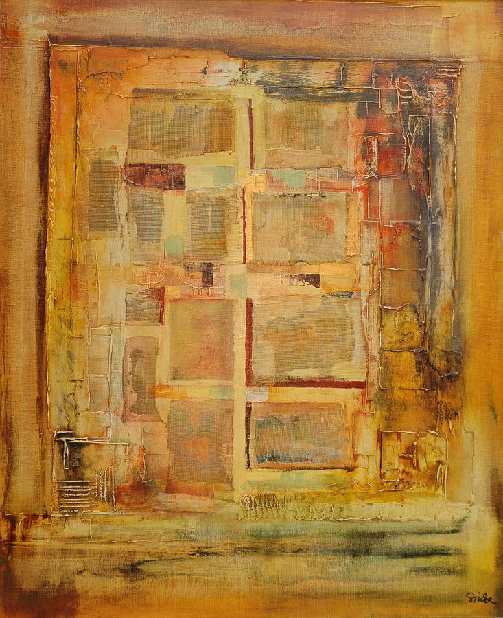 Abstract Painting - Concrete Slab Housing by Jozsef Sinka