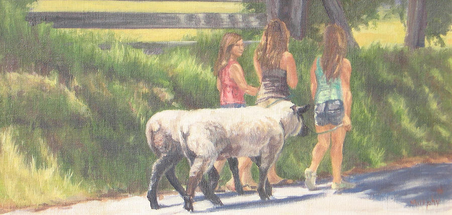 Sheep Painting - Conditioning For Fair by Michelle Murphy-Ferguson