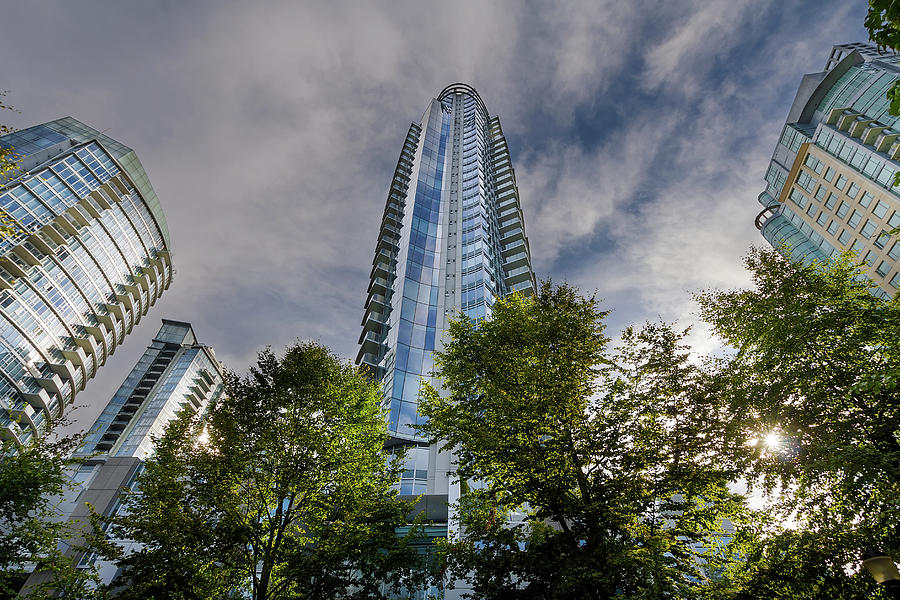 Condominiums Photograph - Condominiums along Waterfront in Vancouver BC by David Gn
