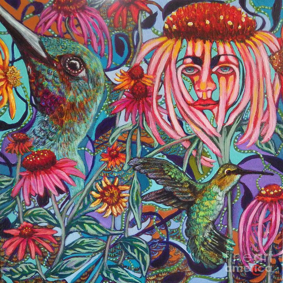 Coneflower and Hummingbird by Linda Markwardt