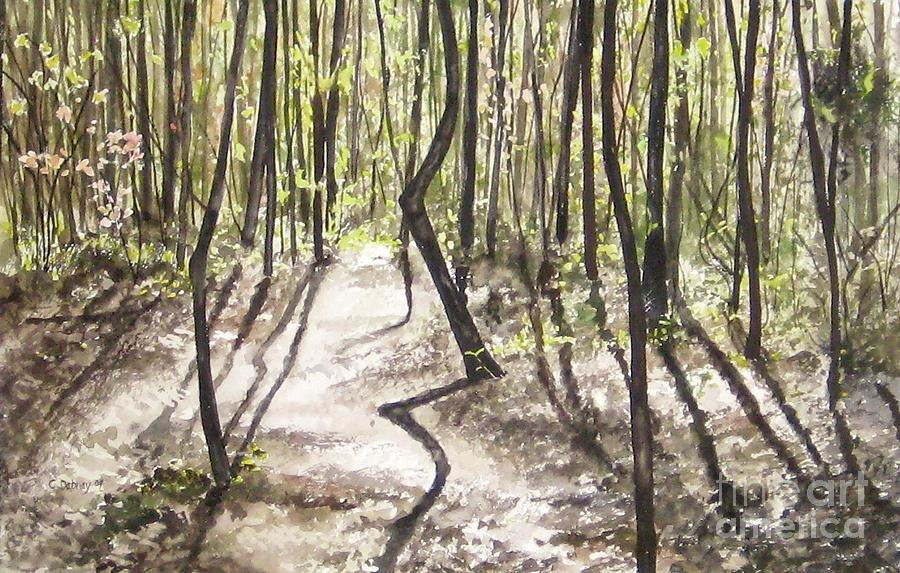 Tree Painting - Conestee walk by Carla Dabney