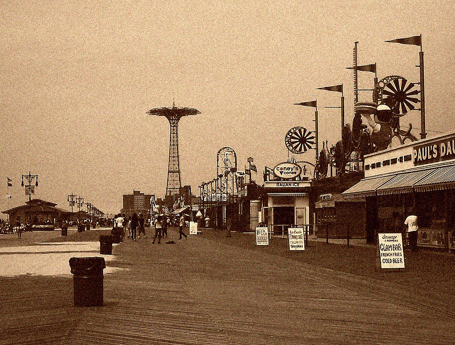 Coney Island Photograph - Coney Island Boardwalk Sepia Tone by Jonathan Sabin