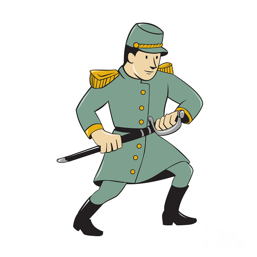Confederate Army Soldier Drawing Sword Cartoon Digital Art By