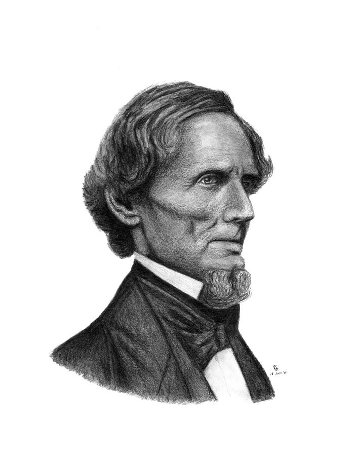 Confederate Drawing - Confederate President Jefferson Davis by Charles Vogan