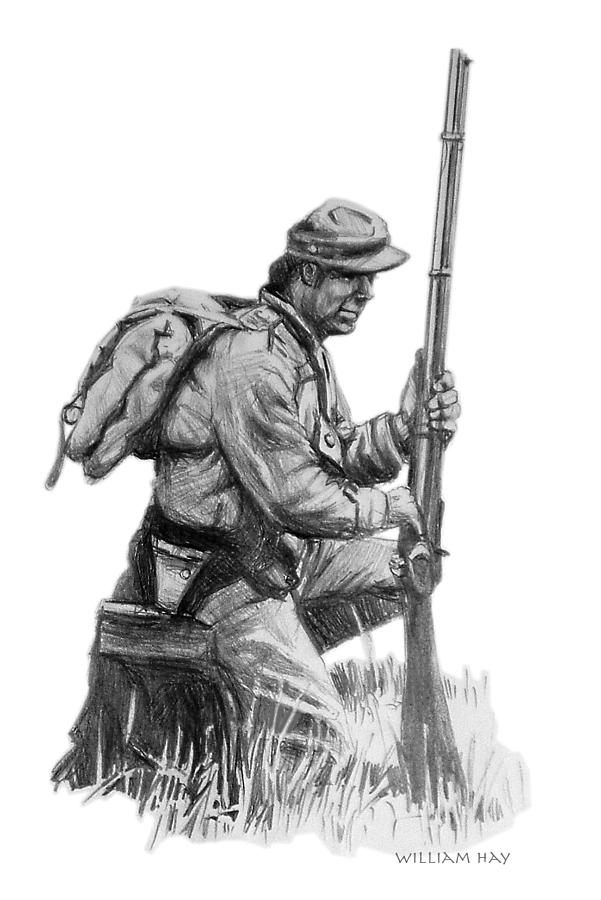 confederate soldier drawing by william hay