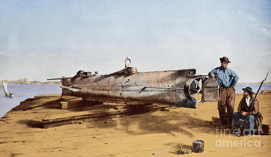 Submarine Painting - Confederate Submarine, Hunley by Conrad Wide Chapman