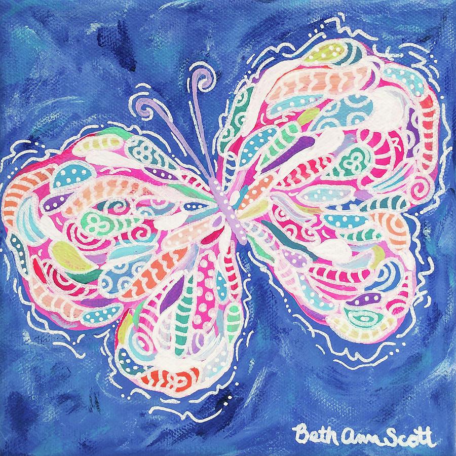 Butterfly Painting - Confetti by Beth Ann Scott