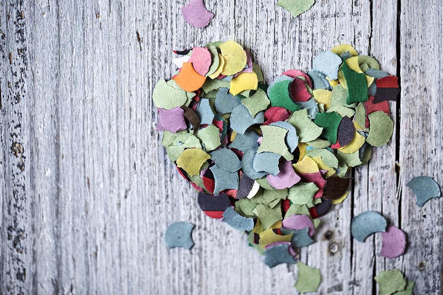 Heart Photograph - Confetti Heart by Nailia Schwarz