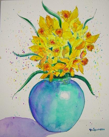 Yellow Flowers Painting - Confetti by Ron Sylvia