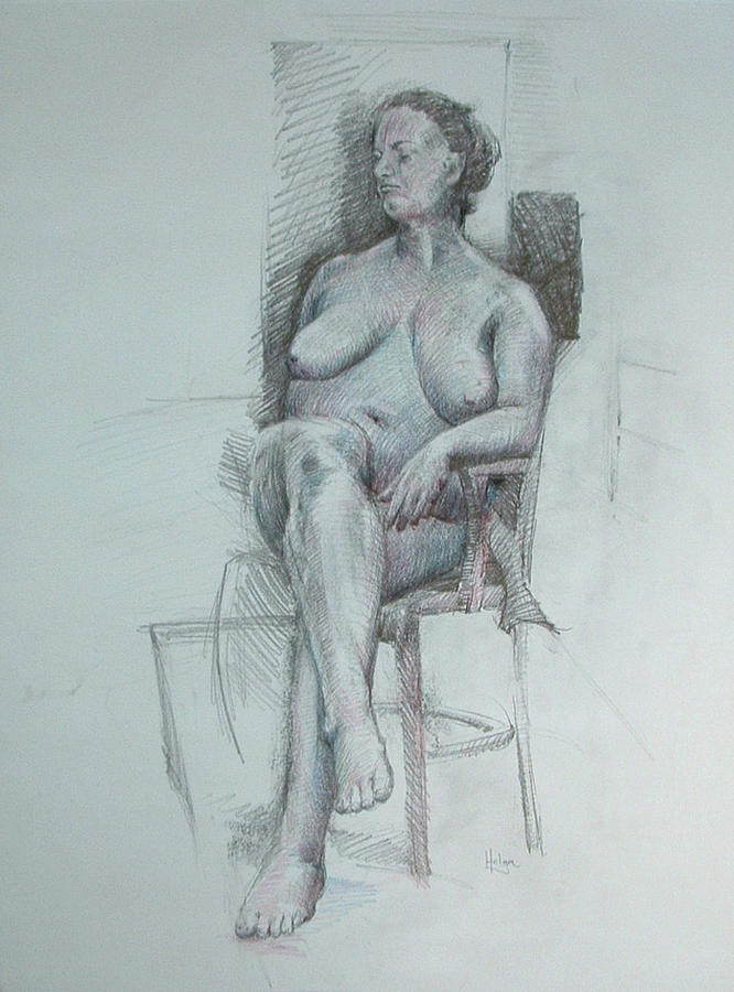 Pencil Drawing Drawing - Confident Nude by Mark Johnson