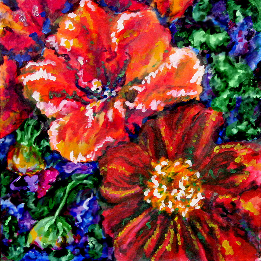 Floral Painting - Confiding Flowers by Laura Heggestad