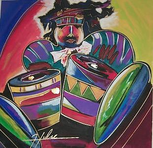 Jazz Painting - Congo Drummer by Gina Hulse
