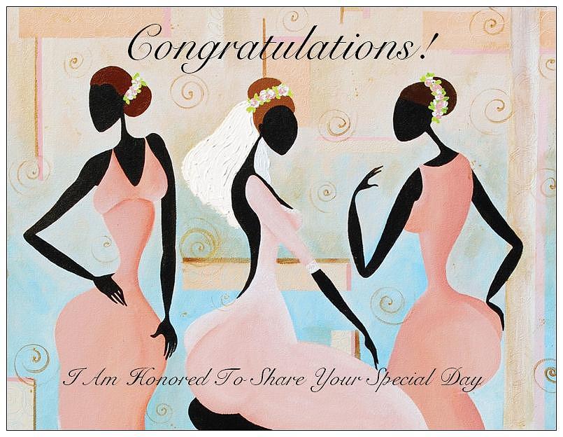 Bridesmaids Greeting Card - Congratulations by Sharon Elliott