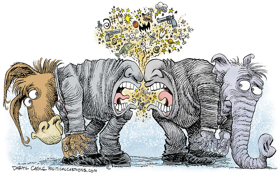 Donkey Drawing - Congress Talking Out Of Their Butts by Daryl Cagle