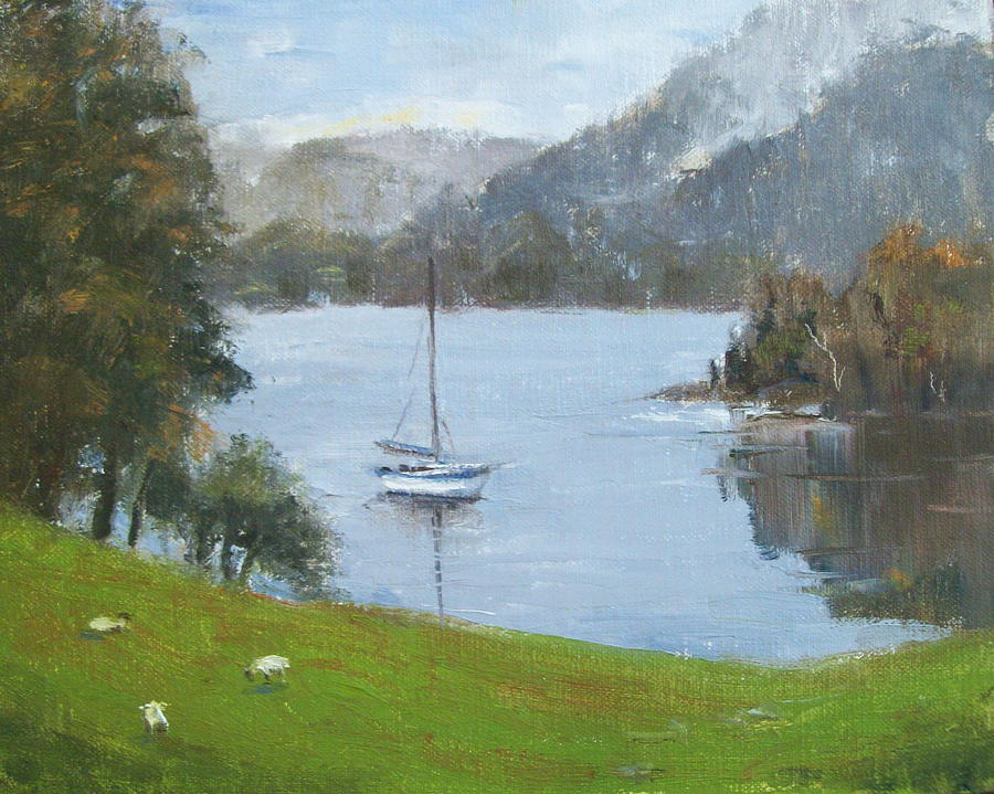 Impressionistic Landscape Painting - Coniston Water by Elaine Monnig