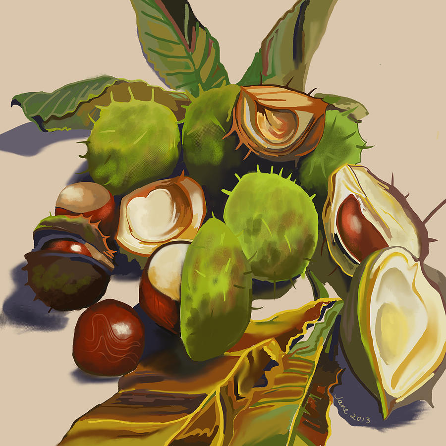 Conkers Painting - Conkers by Jane Tomlinson