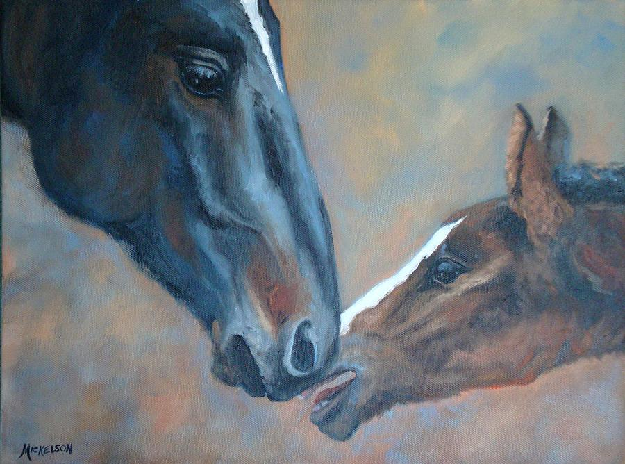 Horse Painting - Connected by Debra Mickelson