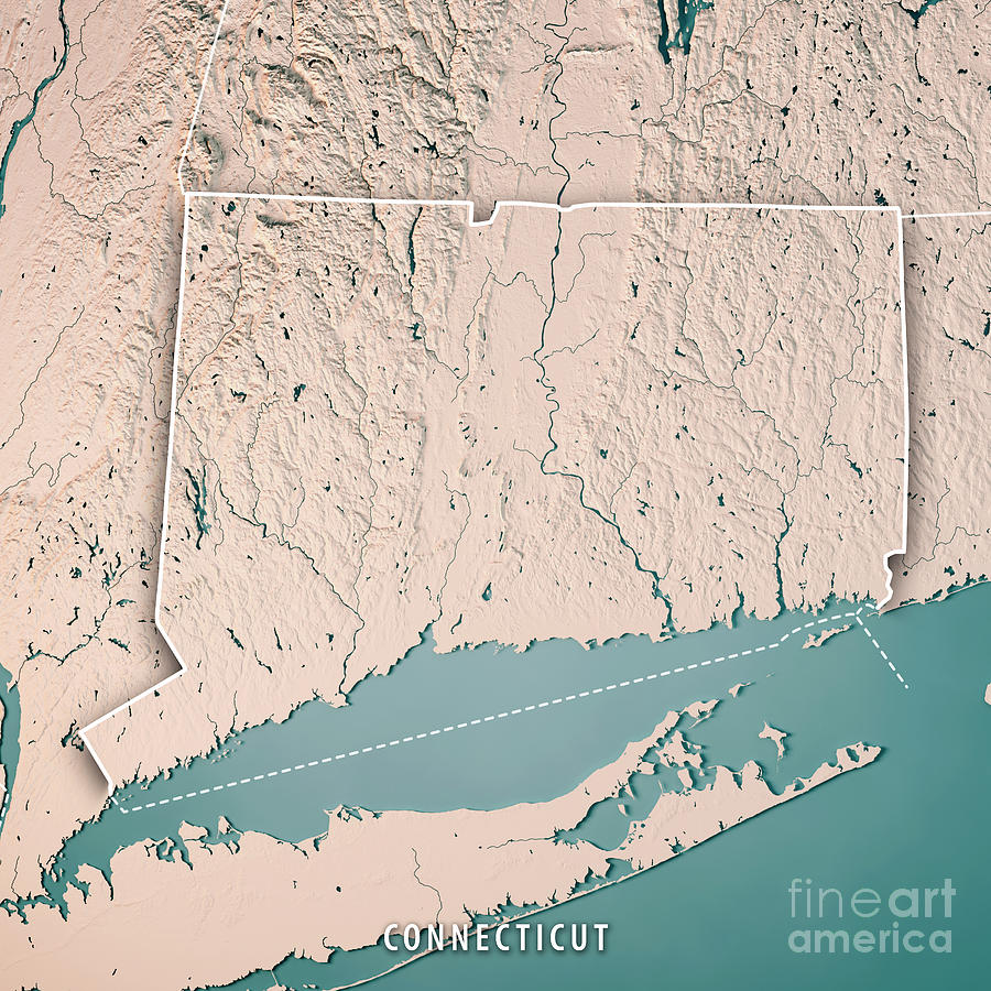 Connecticut State Usa 3d Render Topographic Map Neutral Digital Art ...