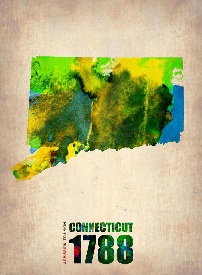 Connecticut Digital Art - Connecticut Watercolor Map by Naxart Studio