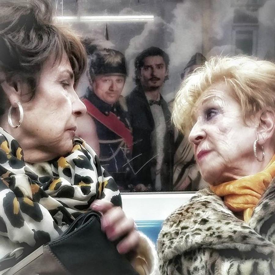 Ladies Photograph - Connection #women #underground #metro by Rafa Rivas
