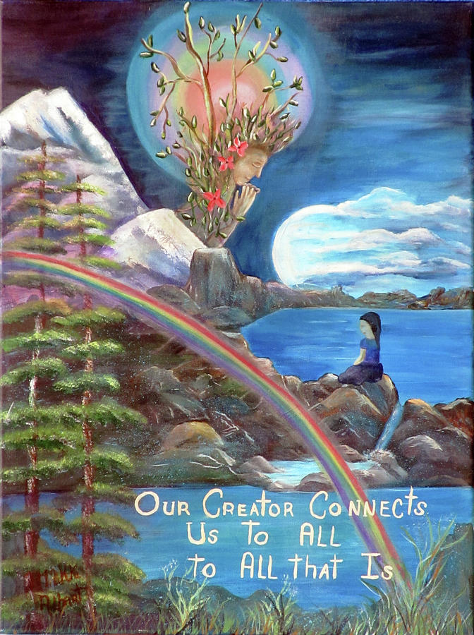 Mother Earth Painting - Connections by Mikki Alhart