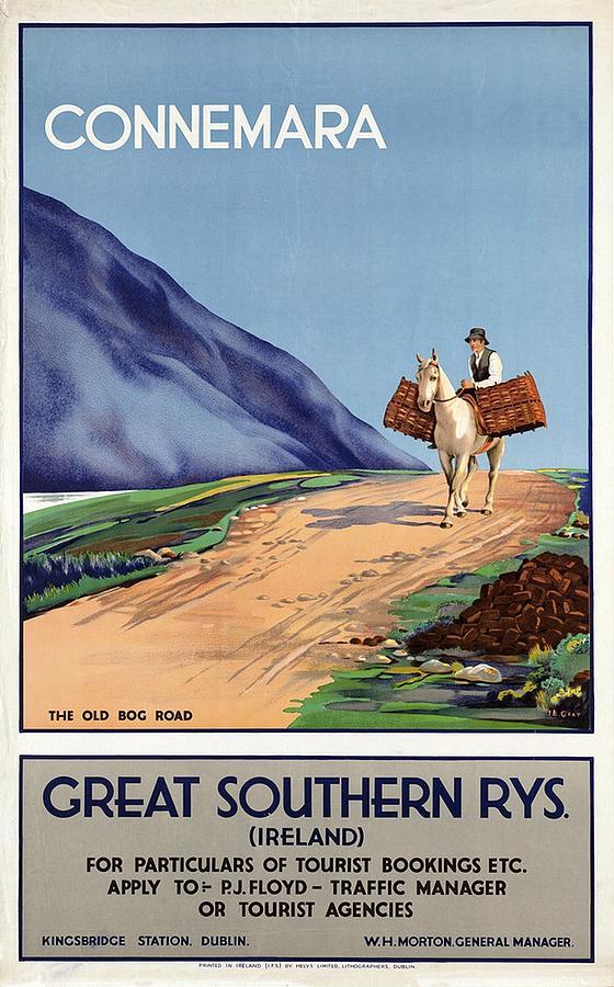 Connemara, Ireland - Great Southern Rys - Horse Riding - Retro Travel Poster - Vintage Poster Mixed Media