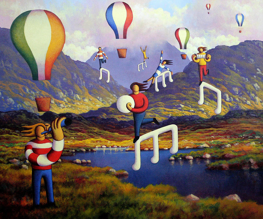Connemara landscape with balloons and figures by Alan Kenny
