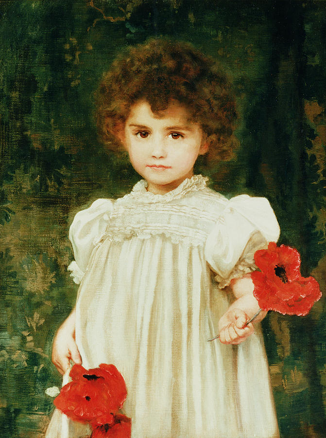 Portrait; Female; Child; Girl; Poppy; Flower; Victorian; Smock; Tousled Hair Painting - Connie by William Clark Wontner