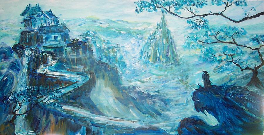 Blue Dragon Painting - Conquer Of The Blue Mountain by Mary Sedici