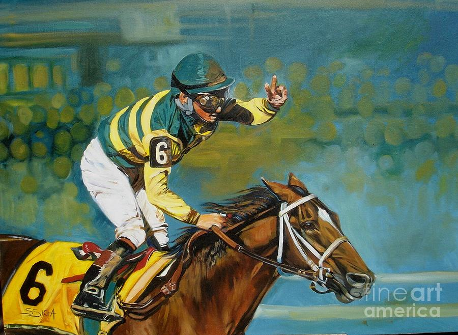 Horse Racing Painting - conquering The Belmount Field by Sabrina Siga
