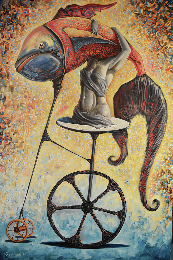 Fish Painting - Consciousness Carrying Freedom by Darwin Leon