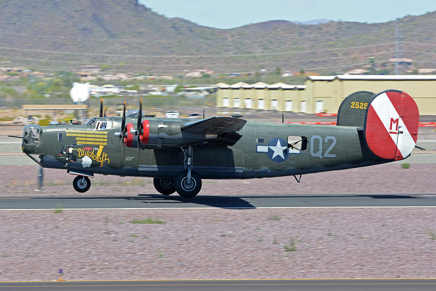 Airplane Photograph - Consolidated B-24j Liberator N224j Witchcraft Deer Valley Arizona April 13 2016 by Brian Lockett