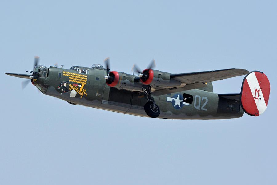 Airplane Photograph - Consolidated B-24j Liberator N224j Witchcraft Phoenix-mesa Gateway Airport Arizona April 15 2016 by Brian Lockett