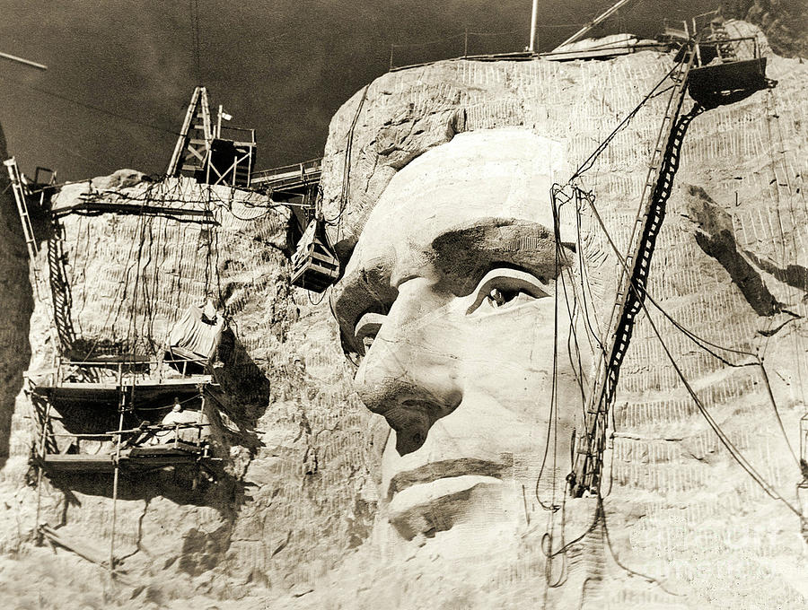 Mount Rushmore Photograph - Construction Of The Mount Rushmore National Memorial, Detail Of Abraham Lincoln,1928  by American School