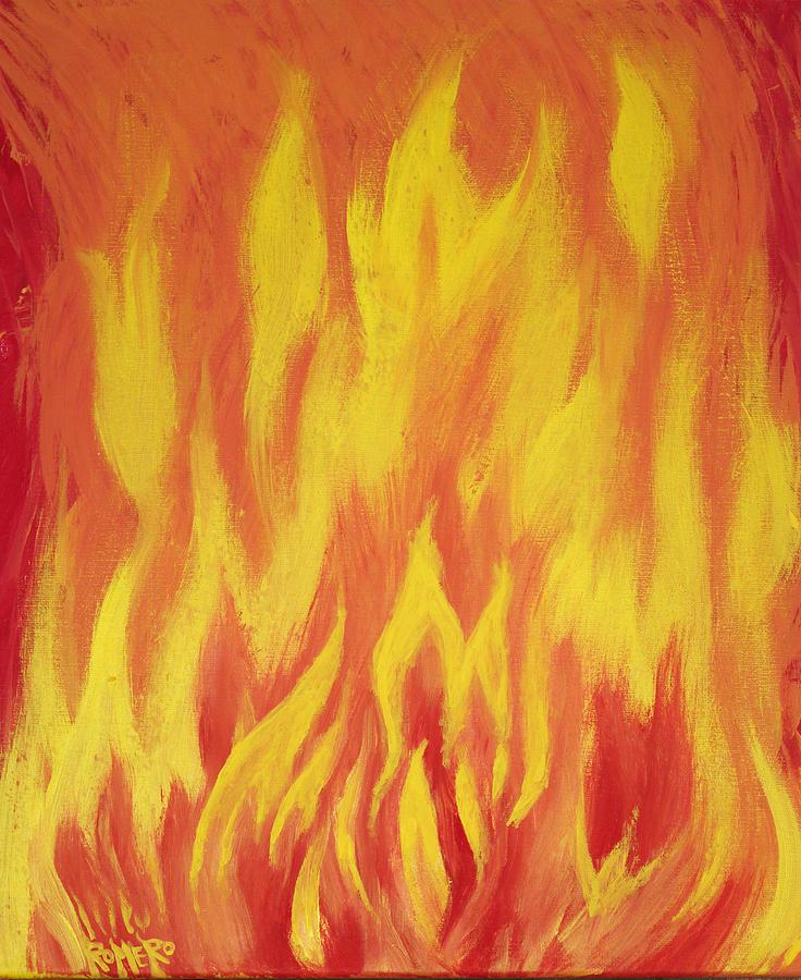 Acrylic Painting - Consuming Fire by Antonio Romero