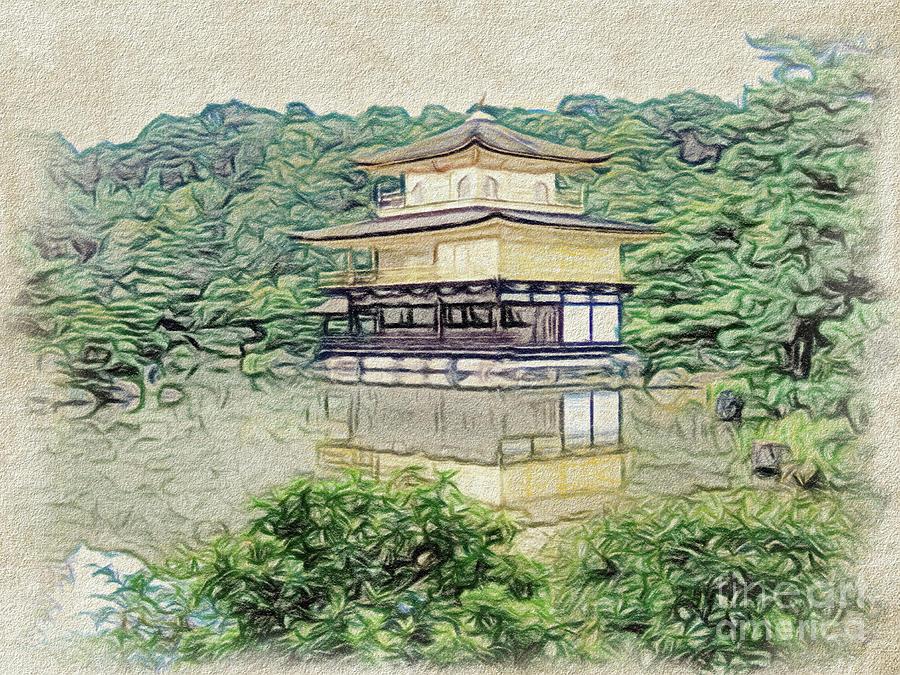 Conte Drawing The Japanese Garden At Kinkaku Ji Temple In Kyoto
