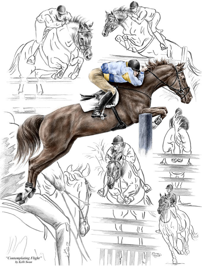 Jumping Drawing - Contemplating Flight - Horse Jumper Print Color Tinted by Kelli Swan