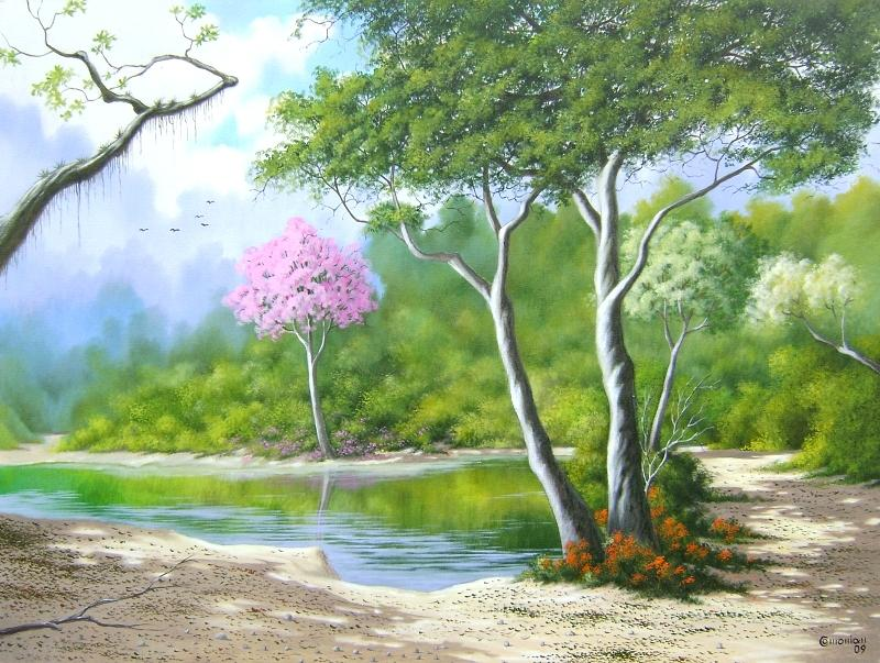 Landscape Painting - Contemplation And Peace by Antonio Gomes Comonian