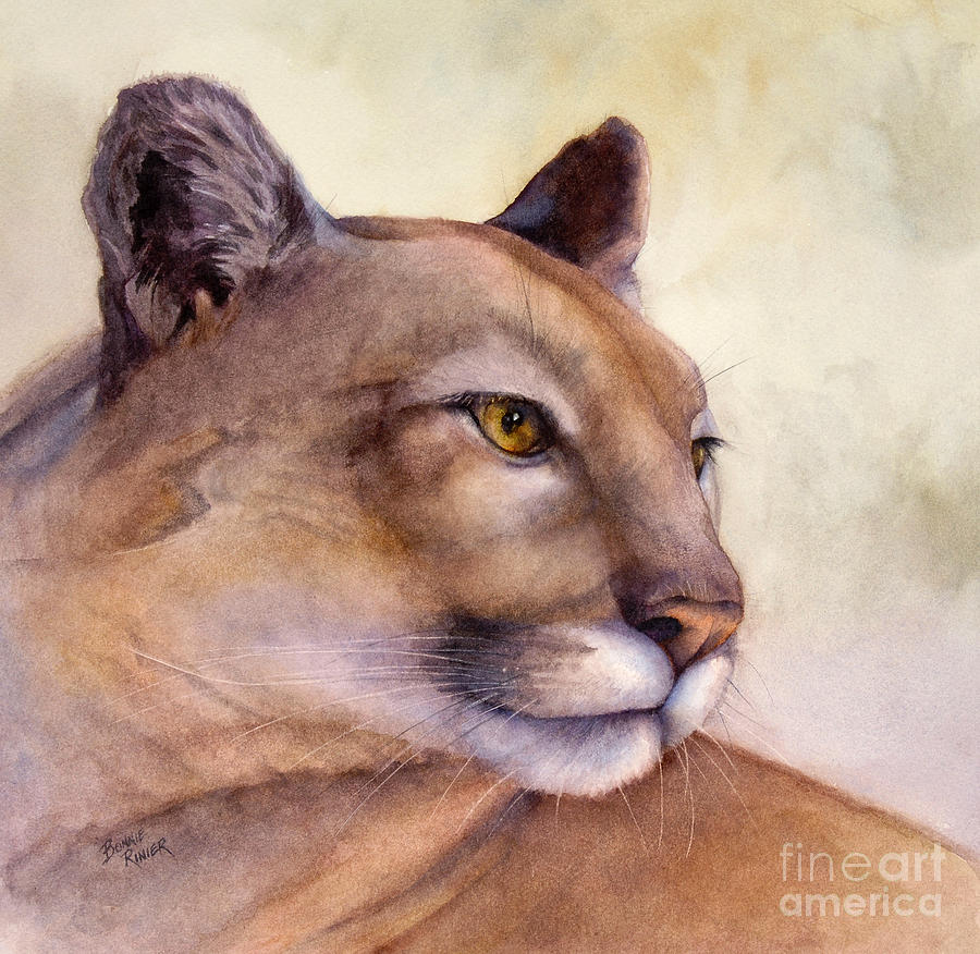 Cougar Painting - Contemplation by Bonnie Rinier