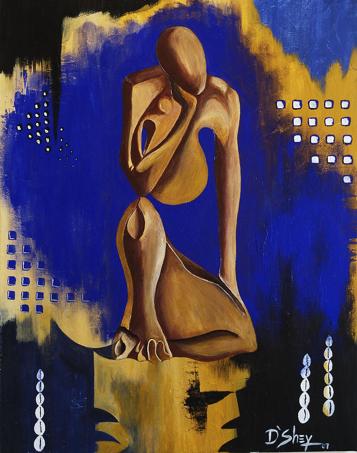 African Painting - Contemplation by Don MacCarthy